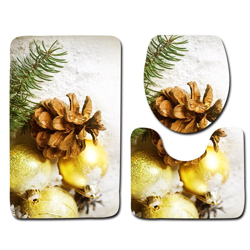 New Design 3pcs Toilet Bath Mats Set Christmas Decor Pattern Bath Mats For Bathroom Non-slip Floor Mats Toilet Lid Cover Rugs