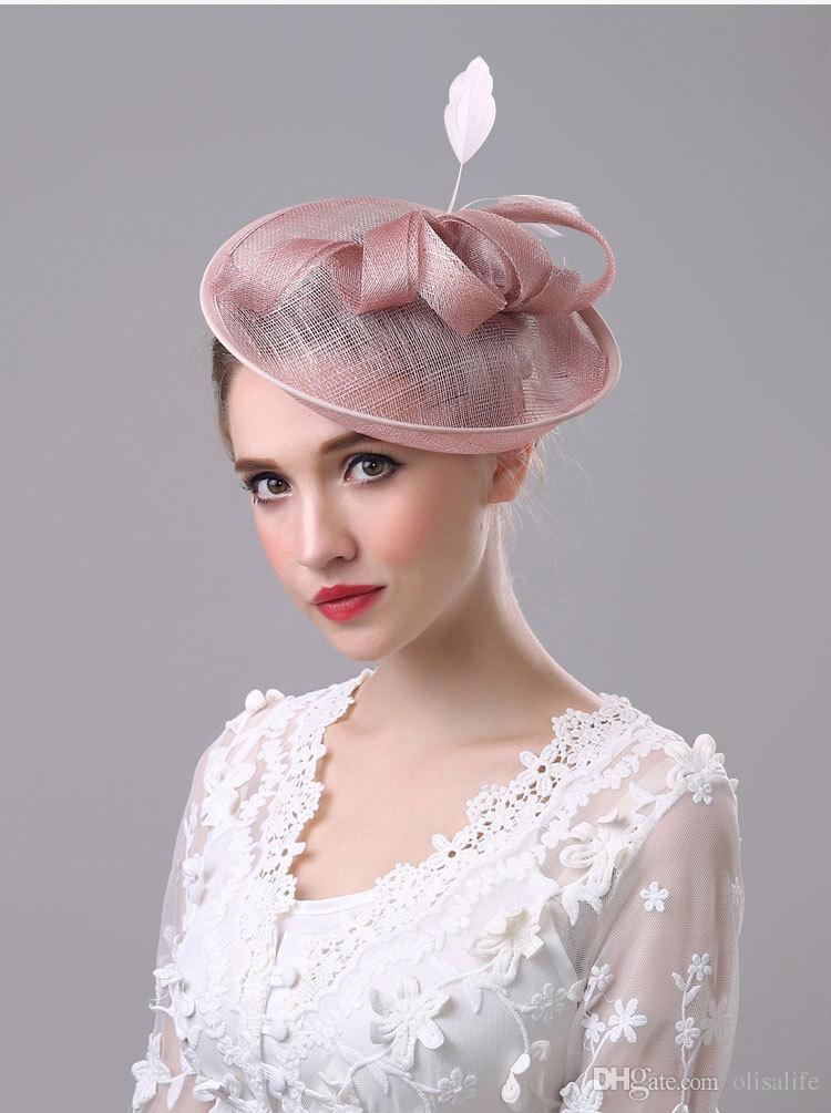 New Arrival Feather Linen Women Hats For Wedding Party Special Occasion Formal Ladies Tulle Red Hats Accessories for Wholesale