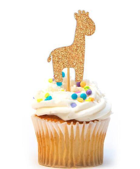 Großhandel Glitzer Wenig Safari Tiere Geburtstag Geschlecht Offenbaren Cupcake Topper Taufe Taufe Party Dekoration Donut Essen Picks Von Afantihourse