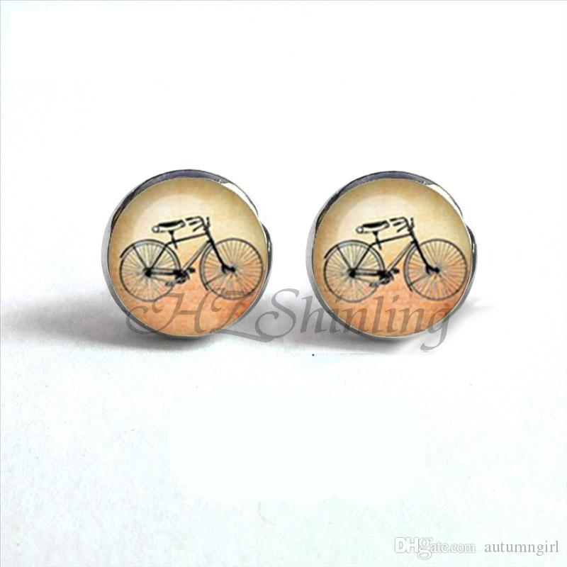 NES-00117 Vintage Bicycle Earrings Bicycle Ear Studs High Wheel Bicycle Art Photo Glass Dome Earring Gifts Women