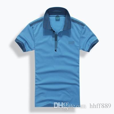 kostenloser versand hochwertiger Sommer Heißer Verkauf revers Polo Baumwolle Shirt Männer Kurzarm Sport Polo Gestreiften mode Lässig Kostenloser Versand
