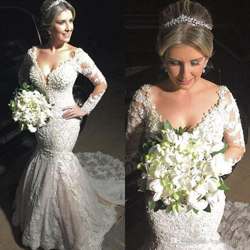 Sexy V-Neck Mermaid Wedding Dresses Elegant Long Sleeves Lace Appliqued Long Wedding Dress 2018Luxury Pearls Vestido De Noiva Custom Made