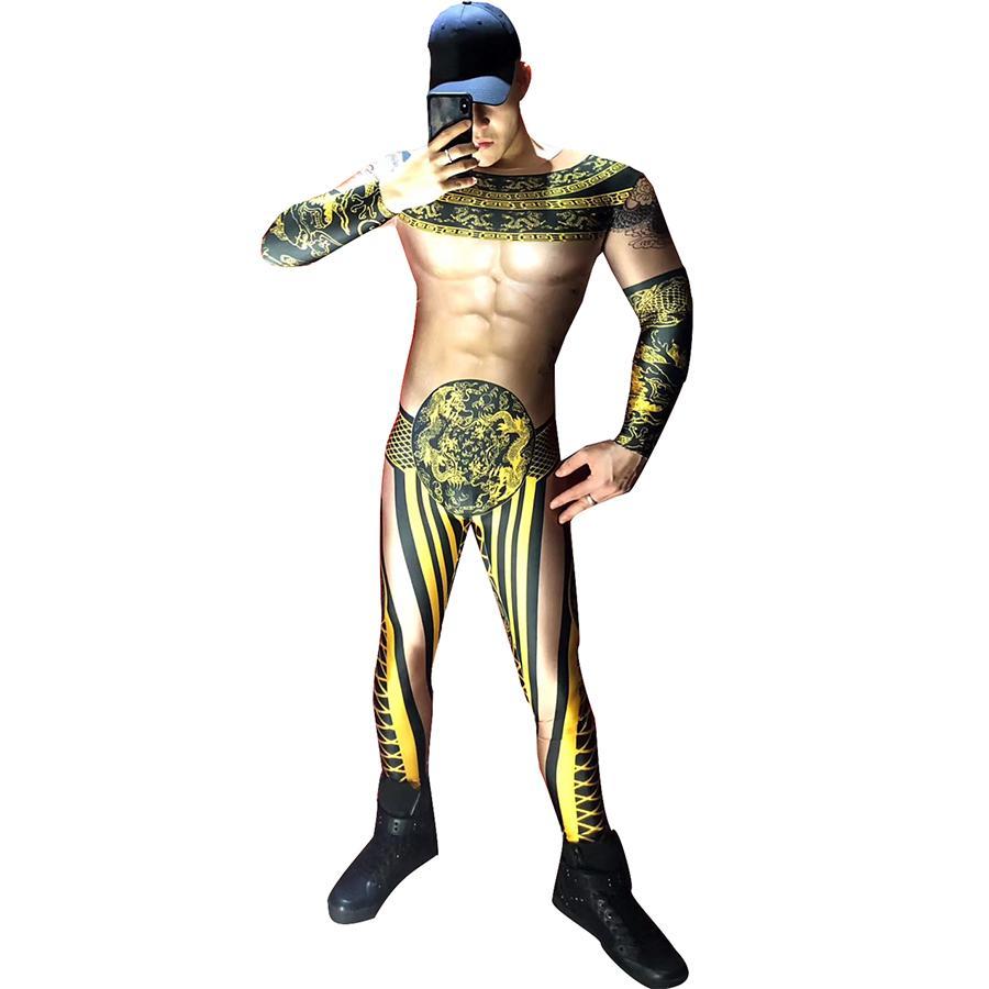 Мужчины певцы сексуальные комбинезоны мужской певец сценический костюм DJ DS выступления черное золото боди танцевальный наряд танцор партия одежда
