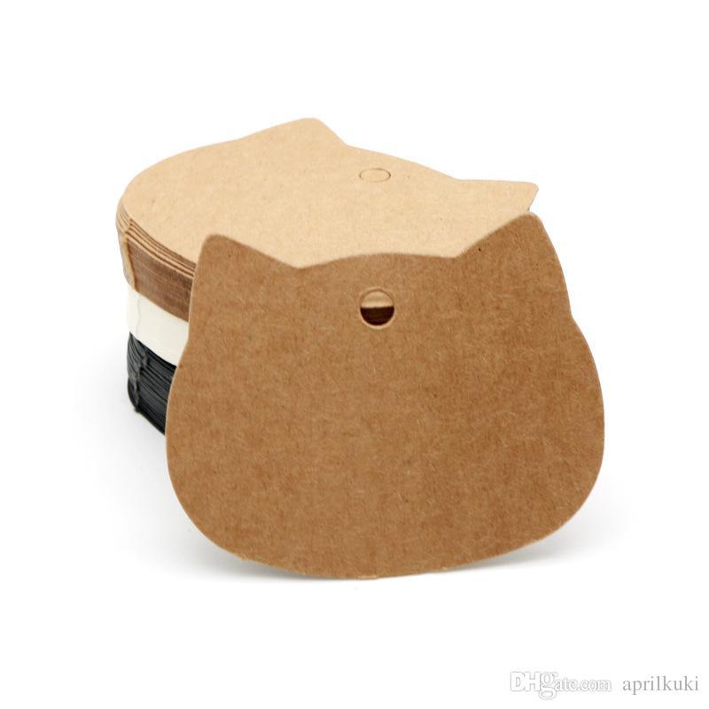 포장 라벨 100PCS / 많은 6.5x5.5cm 고양이 머리 크래프트 / 블랙 / 화이트 종이 태그 결혼 선물 장식의 태그를 추가 할 수 있습니다 사용자 정의 로고
