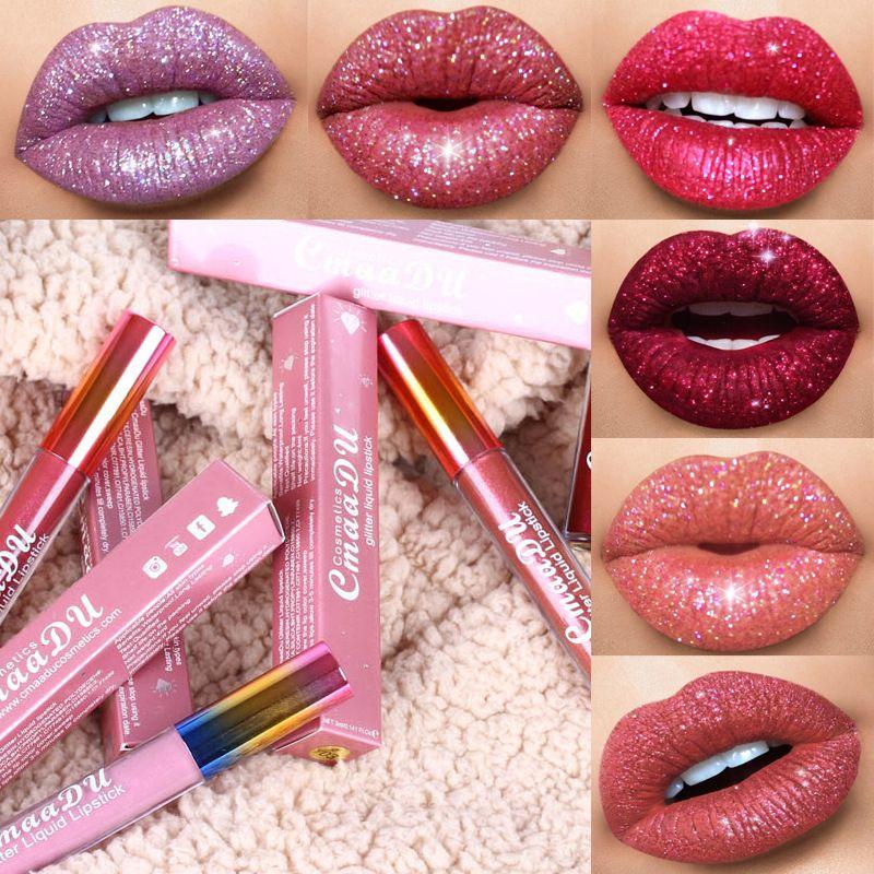Cmaadu Glitter Flip Lip Gloss فيلفيت ماتي أحمر شفاه 6 ألوان مضادة للماء يدوم طويلاً فلاش لامع أحمر الشفاه السائل
