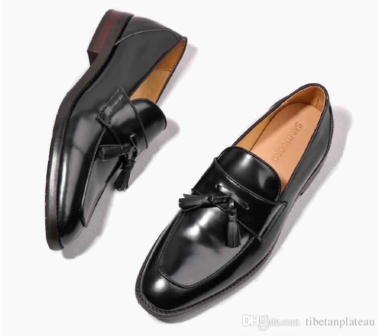 Ręcznie robione Buty męskie Prawdziwe Skórzane Patent Mieszkania Mokasyny Tassels Smart Casual Buty Klasyczne Luksusowe Czarne Buty
