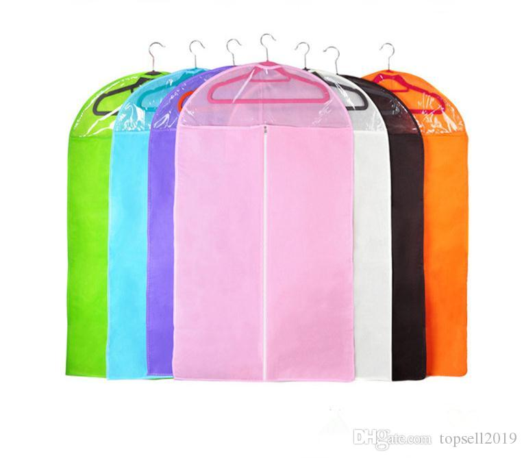 100pcs/lot Non-woven Clothing Dustproof Cover Suits Coats Dust Clothes Garment Bag Storage Protector Organizer Bag SN1343