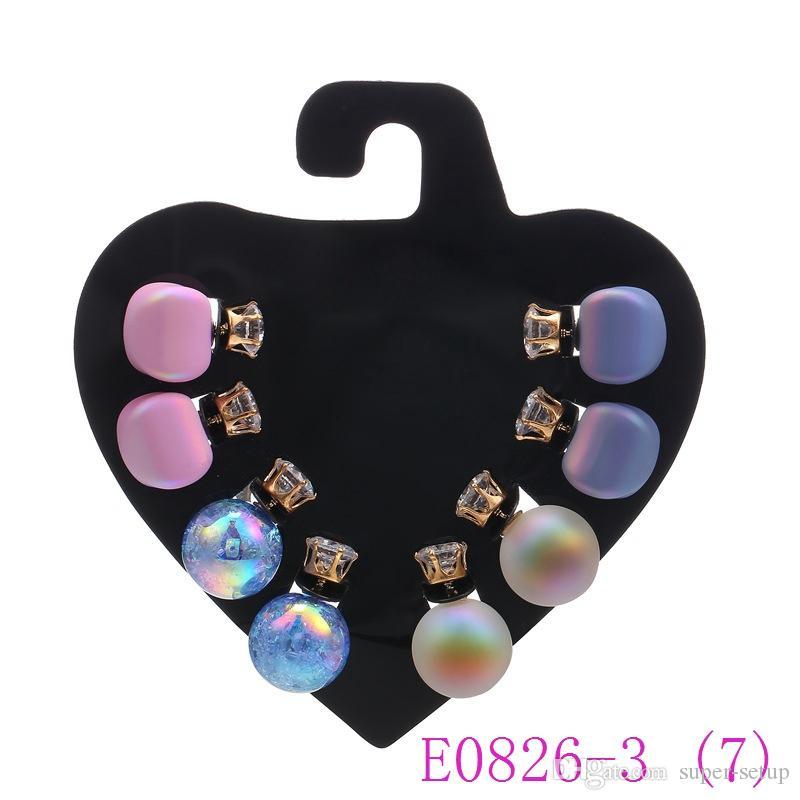 3 set Carino colore della caramella rotonda orecchini di perle in resina di cristallo dell'orecchio della vite prigioniera grande palla di vetro orecchino ragazza regalo E0826-3