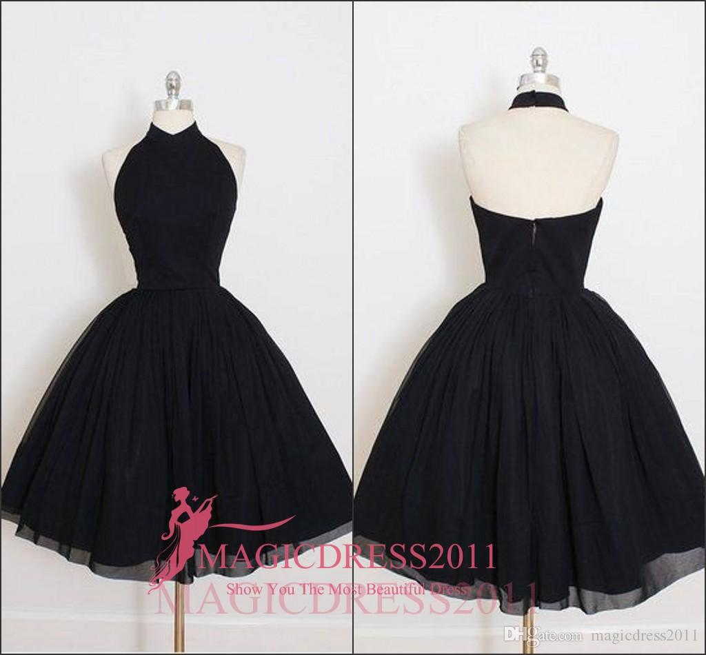 Kale Sweety Mezuniyet Elbiseleri A Hattı Halter Kolsuz Diz Boyu Draped Küçük Siyah Elbiseler Parti Elbiseler 2019