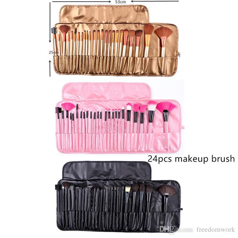 24 logs of wool fiber makeup brush set Portable 24pcs makeup brushes with brush bag epacket free shipping