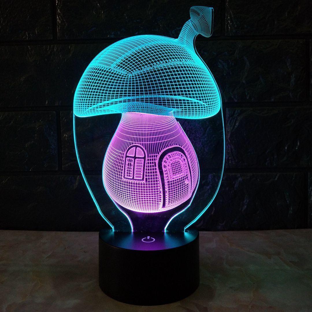 Decoración del hogar Pilzhaus Cartoon 3D Schreibtischlampe 7 ver Farnen LED Nachtlicht Xmas # R54