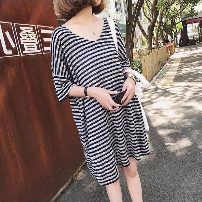 Annelik Elbiseler V Boyun Gri Çizgili Hamile Artı Boyutu Kadın Giyim Emzirme Görünmez Fermuar yaz elbise Yeni Anne için