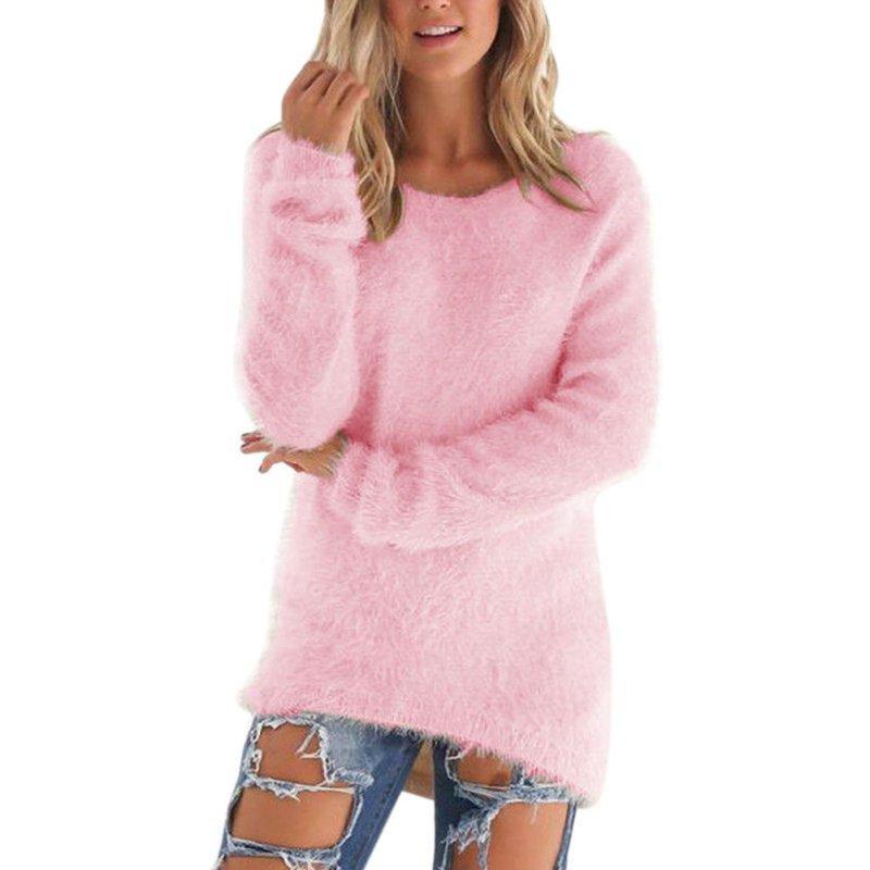 Pullovers Outono Inverno das Mulheres O-pescoço Camisola Feminina Pullover Solto Casual Sólidos Camisolas