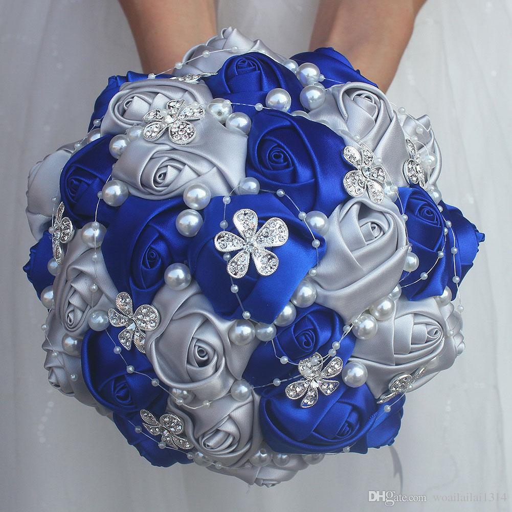 royal blue silver bouquet rose bridesmaid wedding foam flowers rose bridal  bouquet ribbon fake wedding bouquet customized w224 wedding flowers red