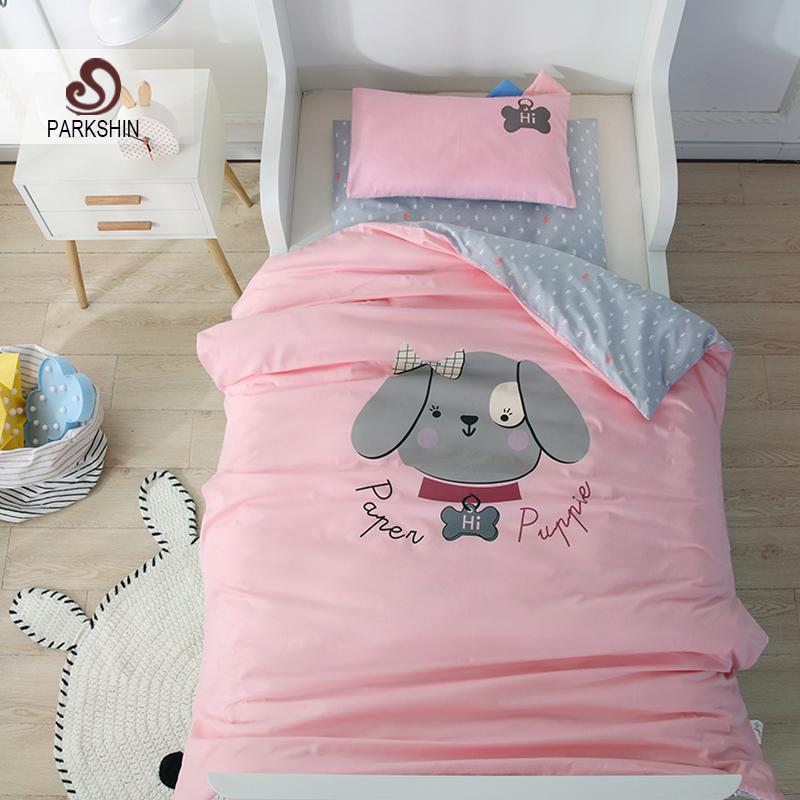 Parkshin Çocuk Karikatür Güzel Yavru Pembe Aktif Baskı Yatak Seti% 100% Pamuk Yumuşak Çocuk Cilt Rahat Yatak Örtüsü Korumak