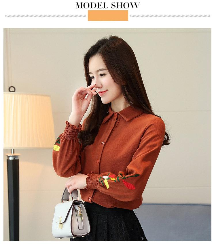 Women\`s Autumn Embroidery Tops 2019 Casual Long Sleeve Female Blouses Work Wear Corduroy Shirts Elegant Office Blusa Mujer Camisas (4)