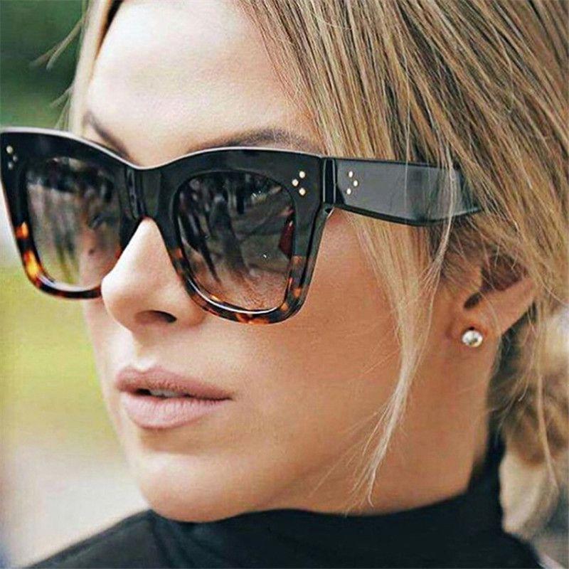 Oulylan كلاسيكي عين القط نظارات شمسية نسائية خمر المتضخم التدرج نظارات شمسية ظلال أنثى UV400 عدسة مكبرة
