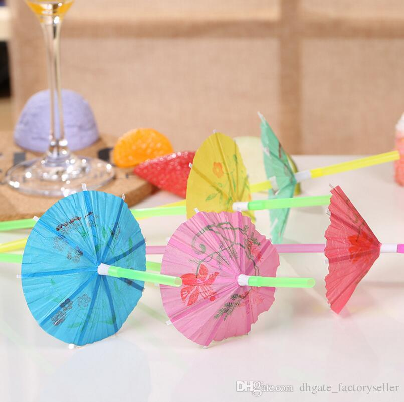 50pcs cocktail Parapluies Hawaiian Party Parasols Papier boisson bar jardin
