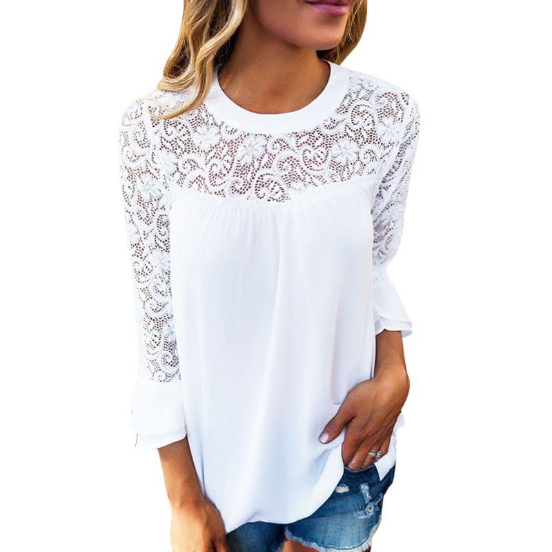 المرأة الصيف طويلة الأكمام قمم أنيقة الدانتيل الأبيض بلوزة فام الجوف خارج السيدات مكتب قميص شيفون القطن الشفاف blusas موهير