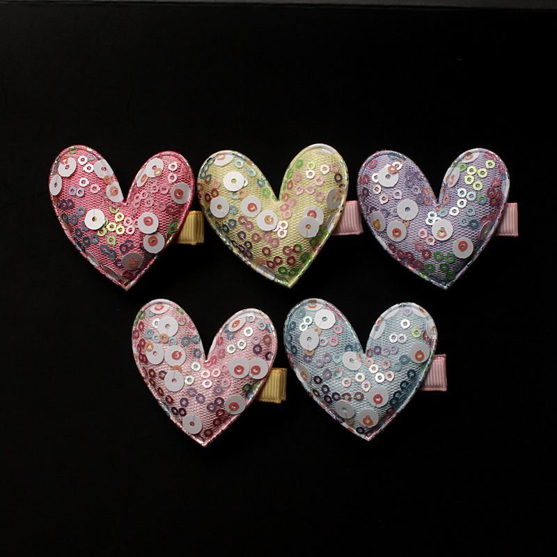 20pcs / Lot Hot Fashion Pink con Shining Paillettes Star Kids Tornante Round Glitter Star Love Heart Hair Girl Barrette Clip di capelli viola
