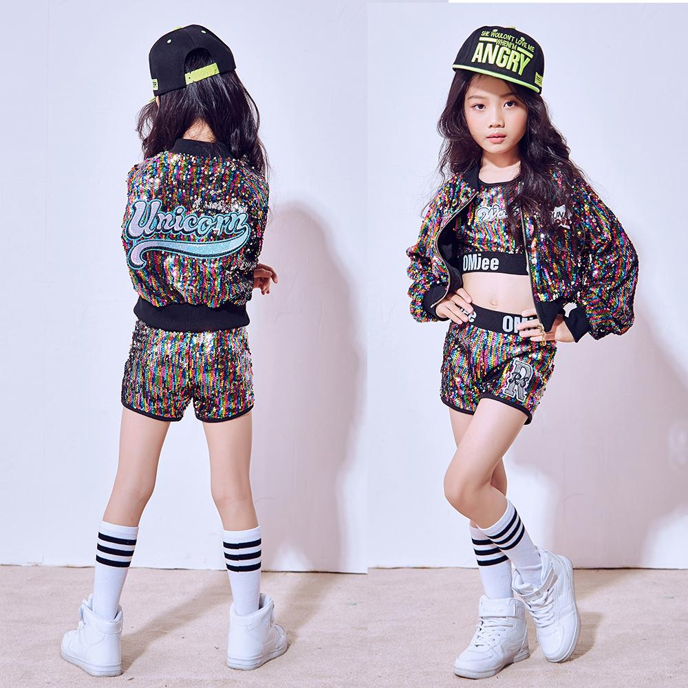 Girls Street Dance Wear Costume Performance Kids Jazz Modern Hip Hop Clothes