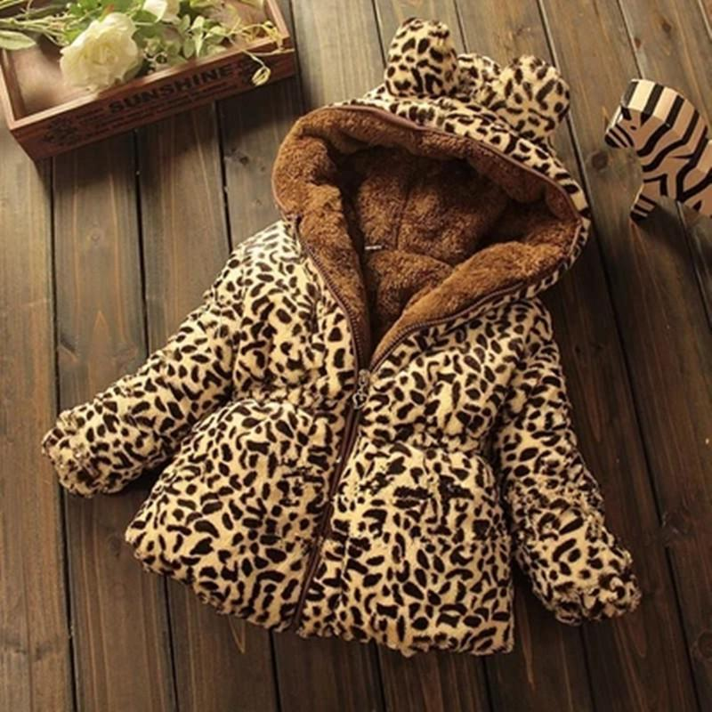 Crianças de inverno Casaco de Leopardo falso gola de pele de raposa casaco Jaqueta Outerwear Menina Do Bebê Hoodies Roupa Infantil de cashmere Casacos Quentes Y18102508