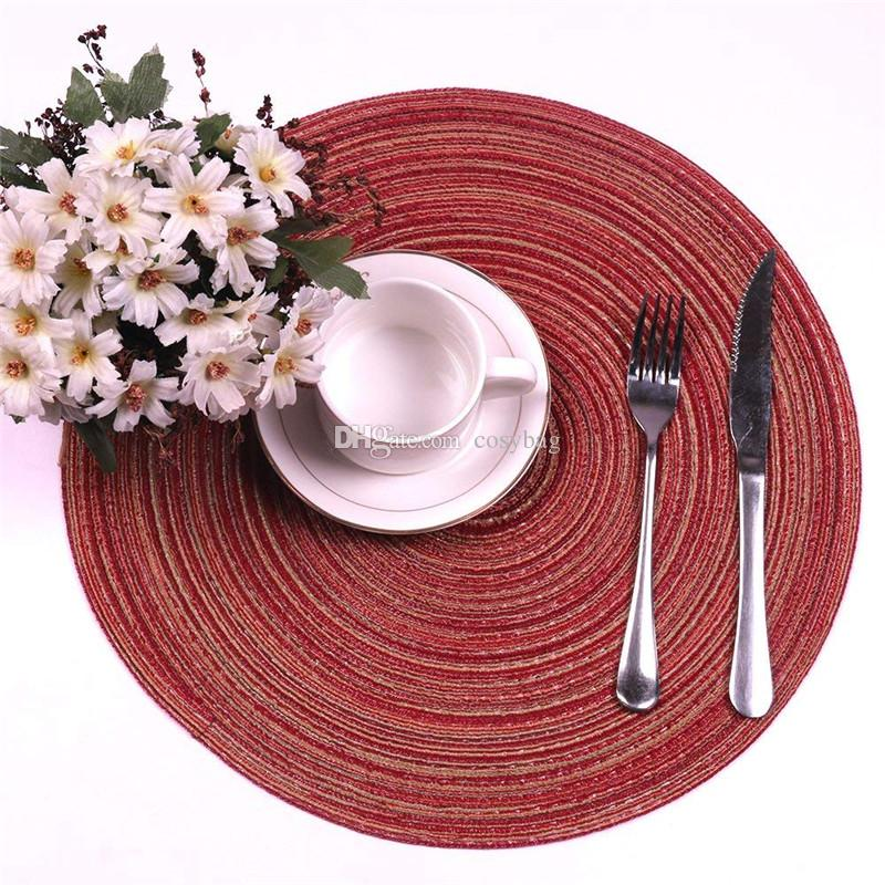 Round Weave Placemat Soft Cotton Dining Table Mat Dise Bowl Pad Coasters Waterproof Table Cloth Pad
