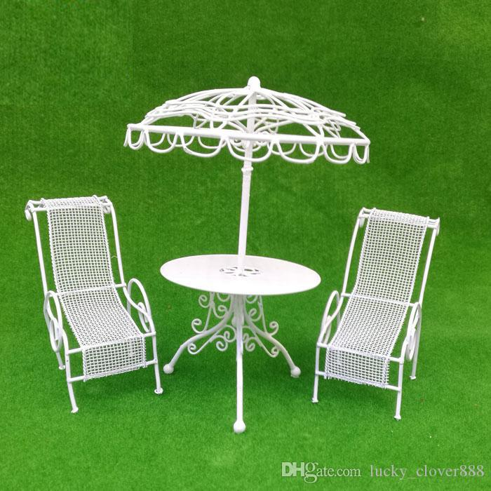 1:12 Scale Toy 3pcs set Dollhouse Miniature furniture Outdoor Metal Table Pair Chairs kits White decor