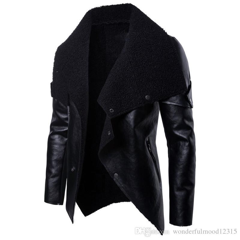 Осень Новой моды Мужской Мотоцикл Кожа Личность Нерегулярная Кожаная куртка Мужской Черный отворот PU куртка