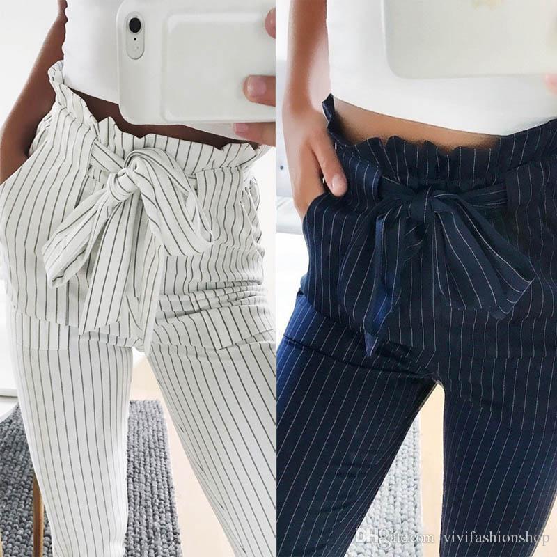 nueva productos afa94 b975a Compre Pantalones Harem De Gasa De Las Mujeres Pajarita Lazo Elástico  Bolsillo De La Cintura Pantalones Euramerican 2018 Nueva Moda JC014 A  $19.78 Del ...