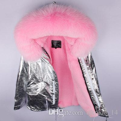 2018 Neues Angebot Pink Fox Fur Trim Hoody MAOMAOKONG Marke Frauen Schneemäntel rosa Kaninchenfell Futter Silber Mini Parkas Schweden Norwegen