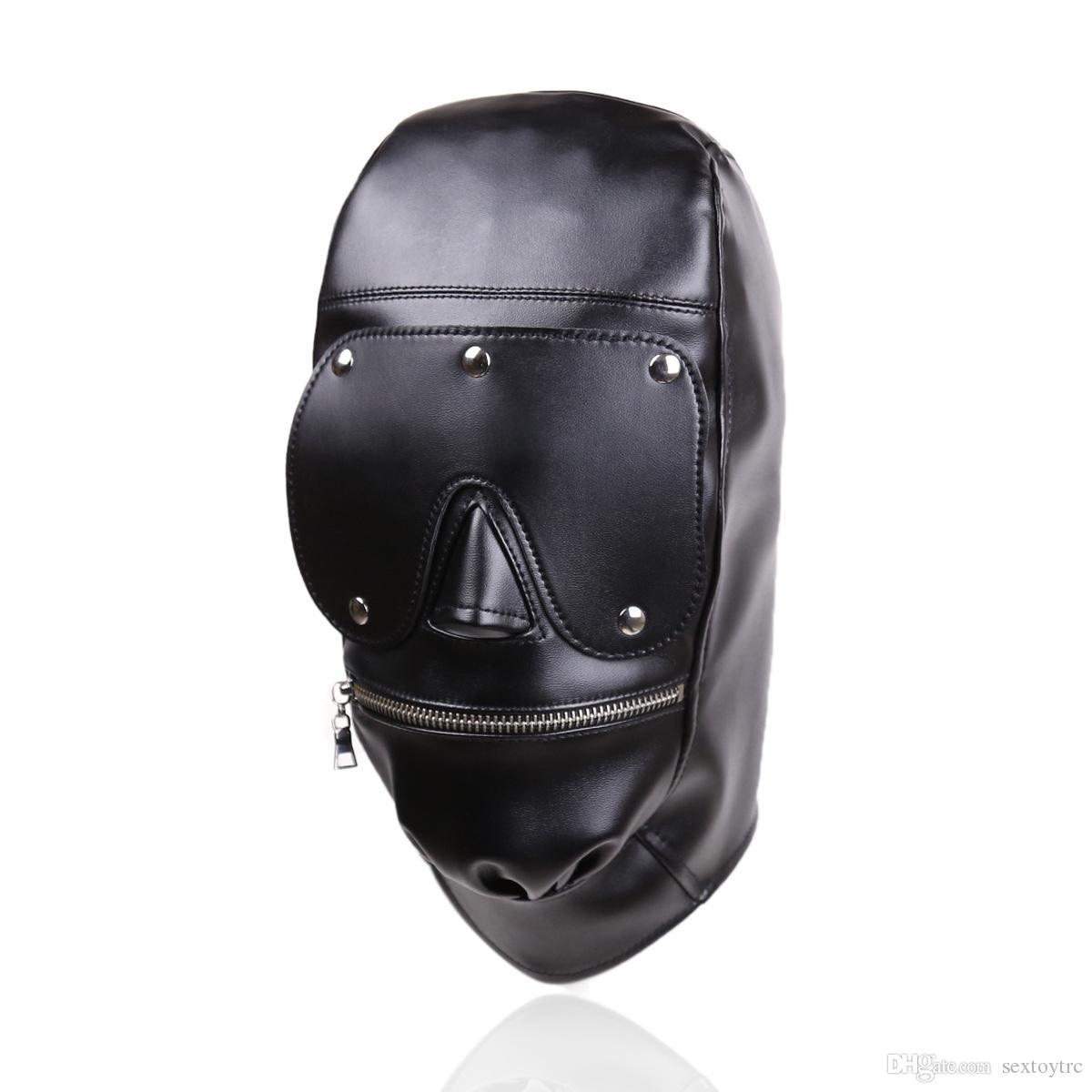 Nuevo diseño Bondage Gear Hood Bozal Arnés con almohadilla ocular desmontable Máscara de cuero negro con cremallera en la boca Fetish Sex Toy Gimp B0306037