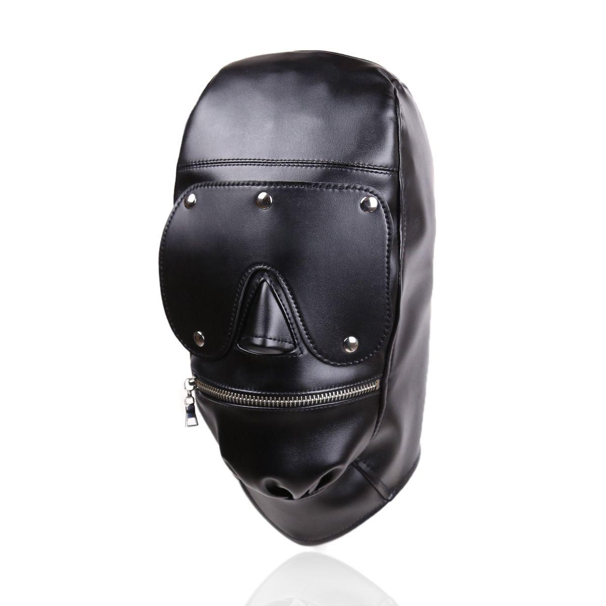 A boca no fuzzeta do focinho da capa da engrenagem da bondage com o brinquedo destacável da máscara do olho do arnês com couro do gimp de couro do gimp do sexo Zipper Fetish B03060 IRTQ