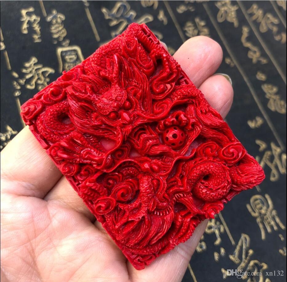 Çin Kırmızı Organik Cinnabar Ejderha Kolye Kolye Şanslı Takı Muska Sıcak