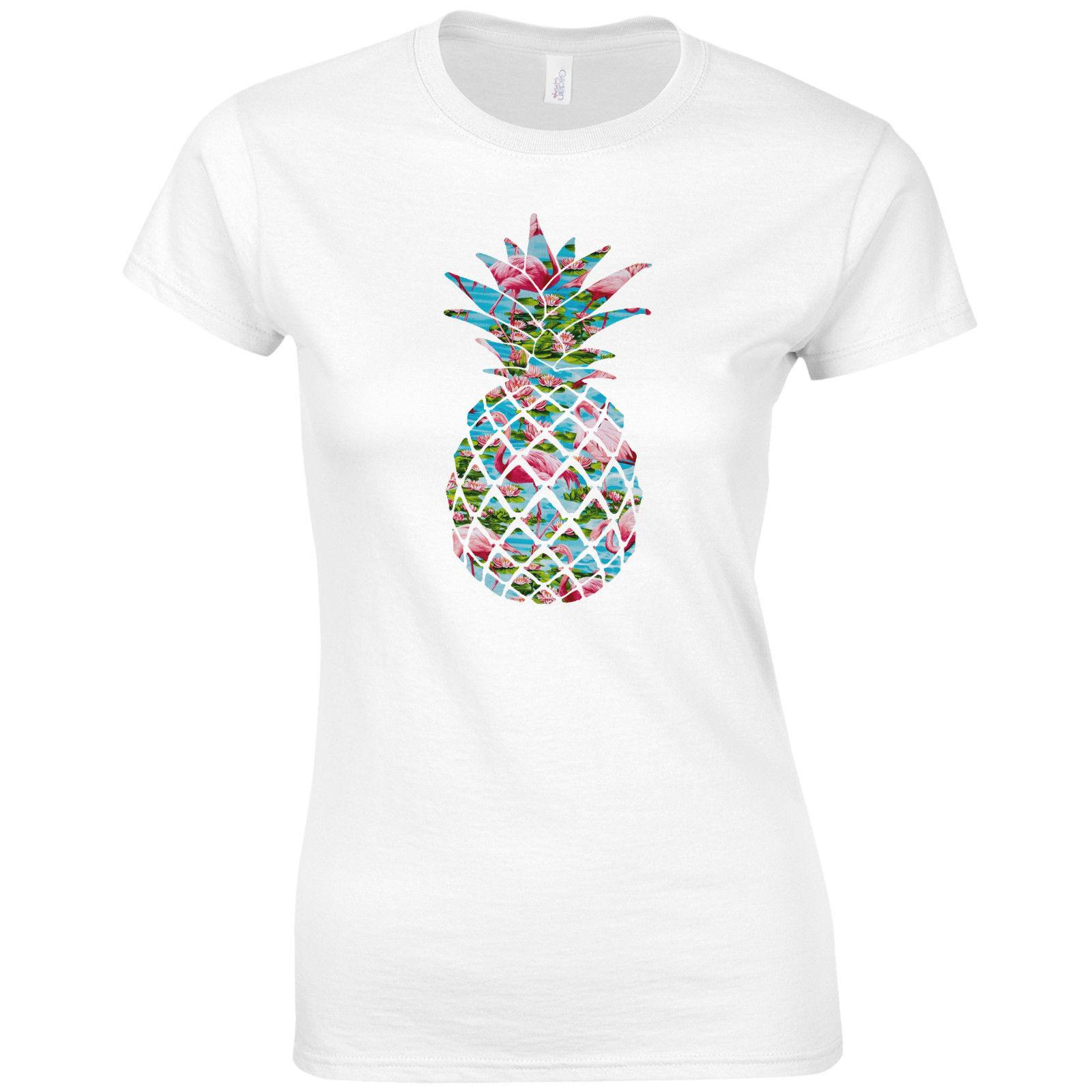 dfc6d491 Women's Tee Flamingo Pineapple Ladies Fitted T Shirt - Fresh Wholesale  Discount Hipster Tropical Fruit Top