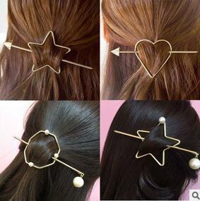 Moderne stilvolle Pentagram-Haarnadeln Korea-DIY mischen Arten Pfeile-Haarclips, die das liebende Herz aushöhlen, Haar-Greifer-freies Verschiffen