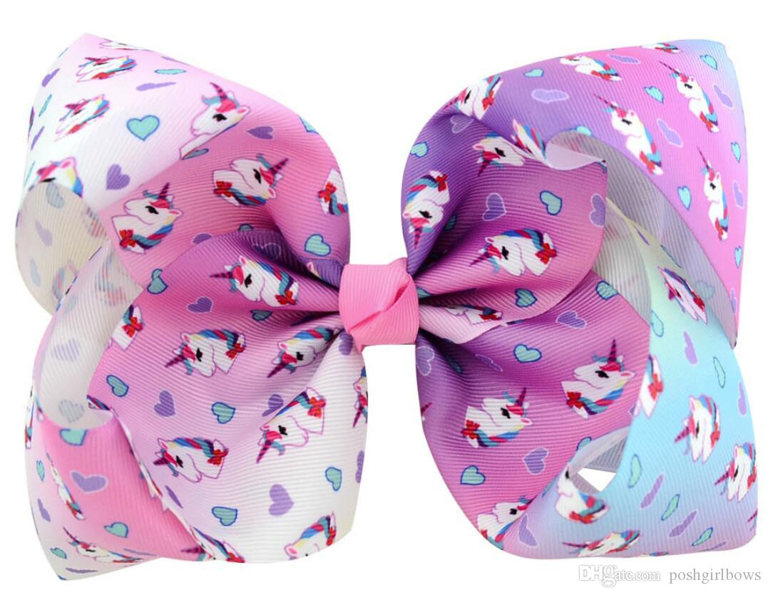 """8/"""" Large Hair Clip Unicorn Bow Hairpin Kid Trendy Baby Hair Clip Casual Gift"""