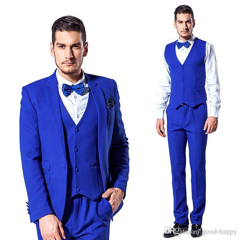 Slim Fit Kraliyet Mavi Damat Smokin Notch Yaka Tek Düğme Erkekler Düğün Blazer Erkekler Örgün Balo Yemeği Iş Takım Elbise (Ceket + Pantolon + Kravat + Yelek) 1026