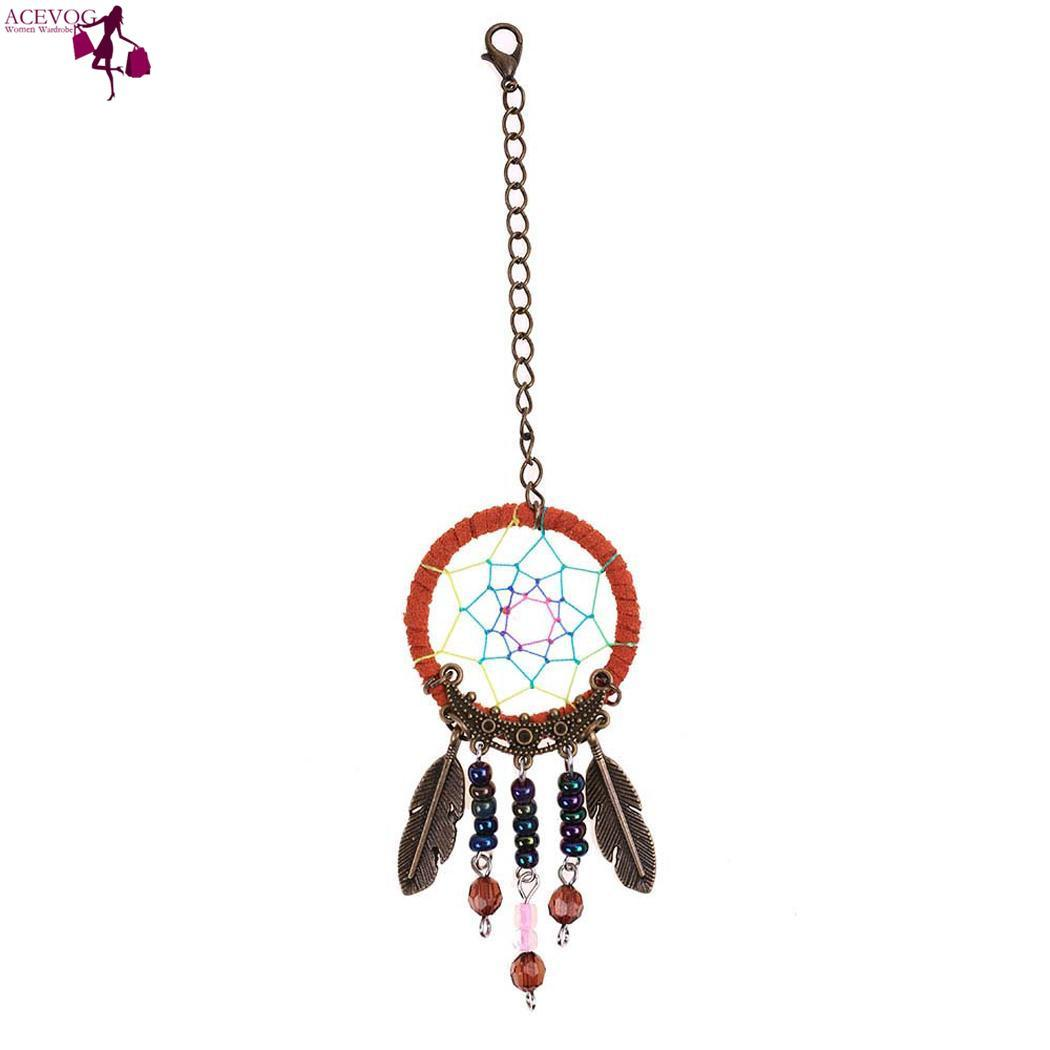 Hollow Pendant Pendant Bag Keychain Accessory Car Beads Holder Weave Chain Feather Handmade Key Bohemian Out Trinket