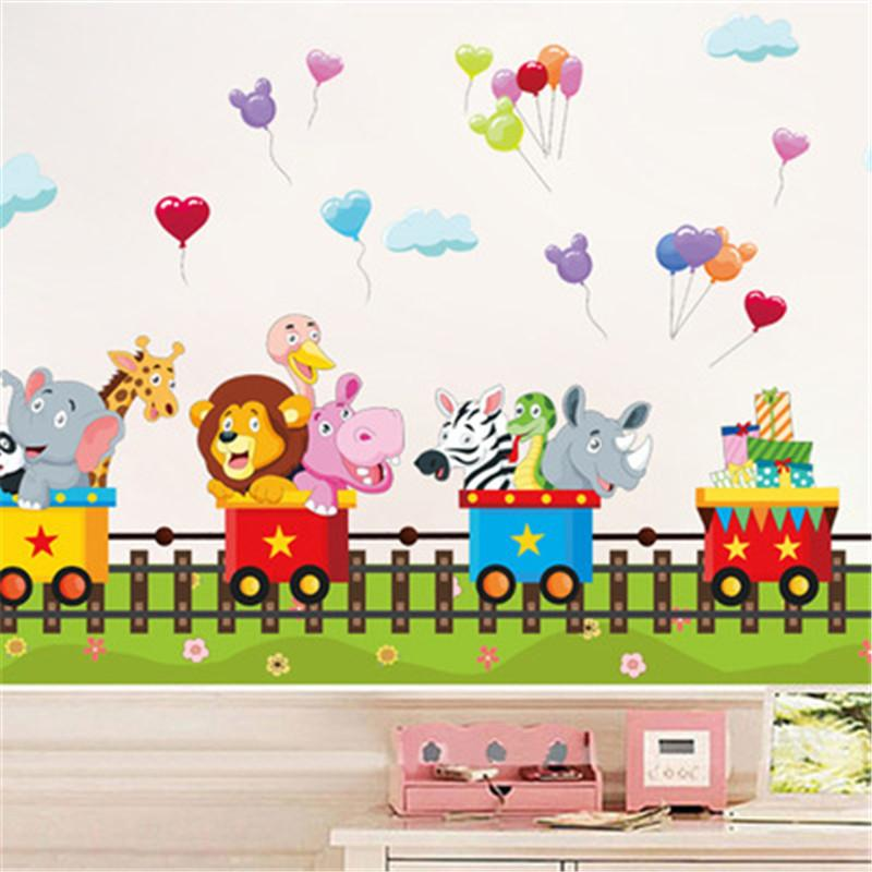 Cartoon Jungle Wild Animal Train Wall Stickers For Kids Room Home Decor Bedroom Sofa Wall Decals Adesivo De Parede