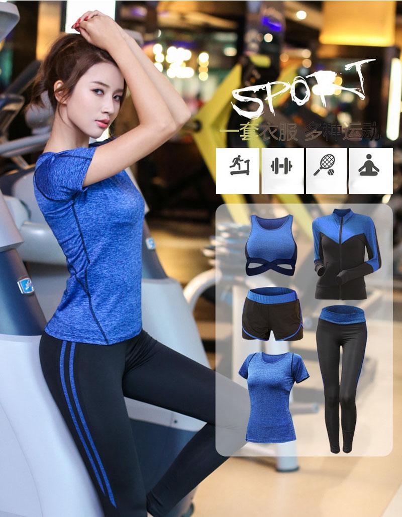 5 pieces/set Yoga Suit Women Sportswear Jogging Suits Gym drying clothes Yoga pants For Lady