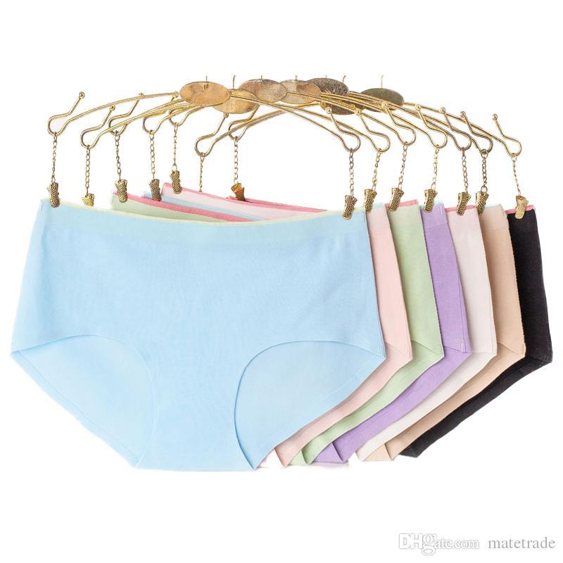 50PCS / LOT SINGYOU Mujeres bragas de la ropa interior de gran tamaño de las señoras bragas de algodón de mediana altura Sexy panty delgado niñas respirables