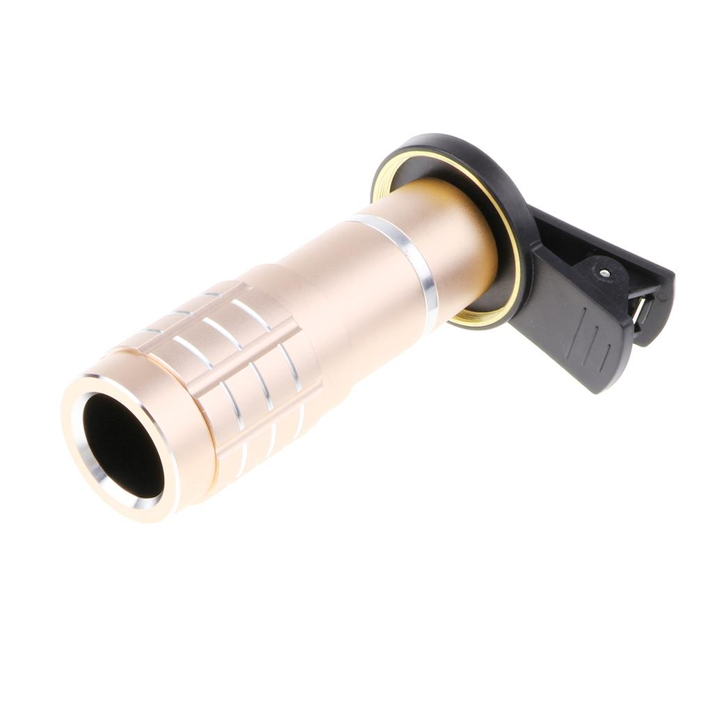 MagiDeal Clip-on 12X Zoom Telescope Camera Telephoto Lens and Wide Angle Lens gold