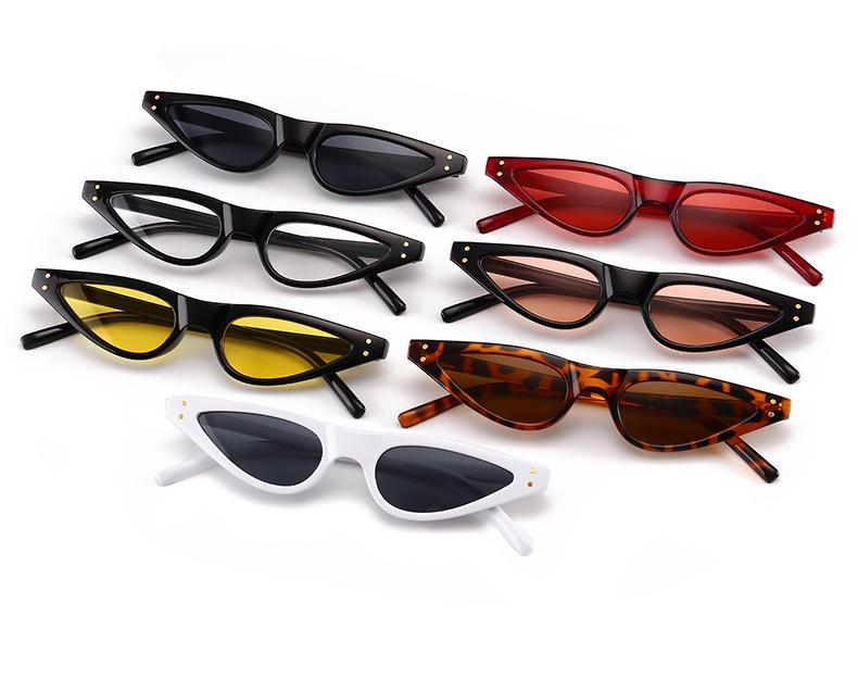 Regalos del gato gafas de sol de los ojos de las mujeres Pequeño Triángulo de las lentes de la vendimia con estilo Gafas de sol Cateye Mujer UV400 Gafas