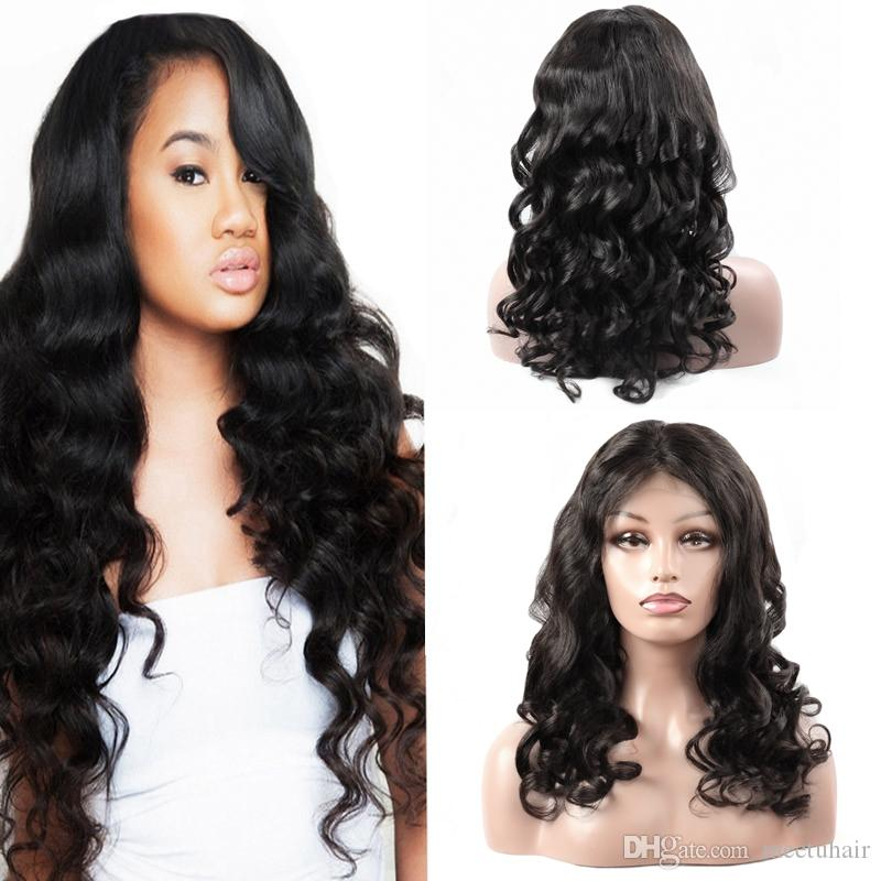 Cheap 8A Loose Wave Natural Looking Hair full lace human hair wigs For African Americans Woman10-30Inch Wholesale Price Free Shipping