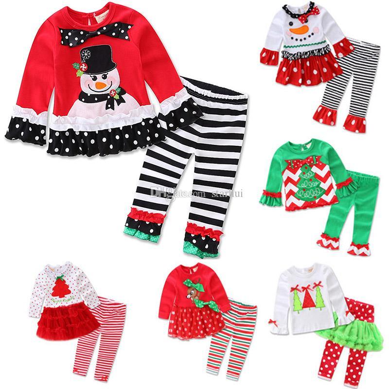 Noel Çocuk Baskılı Noel Baba Ren Geyiği Xmas Ağacı Için Pijama Kıyafetler Kız Uzun Kollu Fırfır Pijama Set Giyinmek Giysi WX9-1008