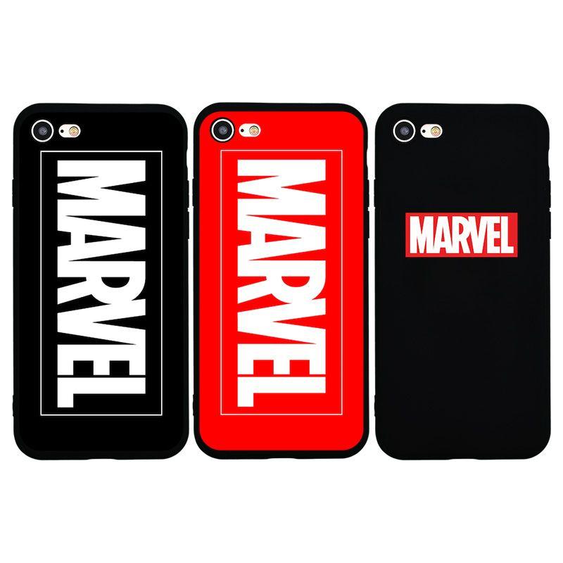 3pieces / lot 2018 Nouveau design classique MARVEL Logo Etui en silicone pour iPhone 7 7Plus 8 Plus 6s Plus X 10 Phone Cases Téléphone Housse