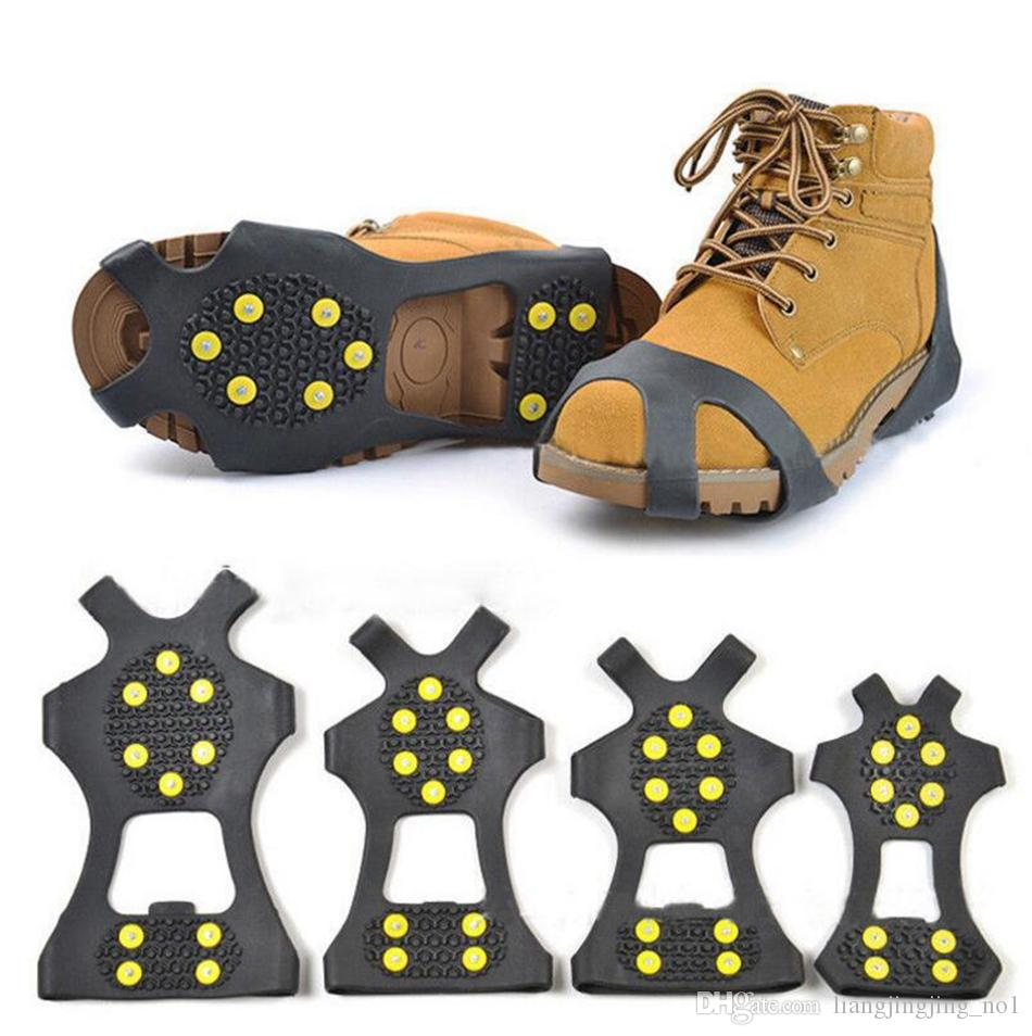 10 스틸 스터드 얼음 클리트 미끄럼 방지 눈 얼음 등반 신발 스파이크 그립 스테이플 클리트 Overshoes가이 그리퍼 OOA3877-1 등반