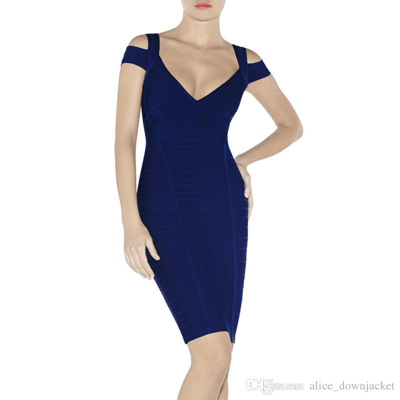 Vestido de vendaje de las mujeres de moda de color caqui azul marino azul marino con cuello en v vestido de verano a rayas mini vestido de cóctel Club de noche vestidos de fiesta