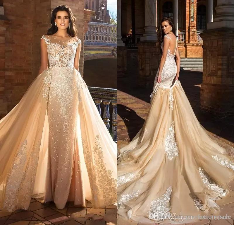 Milla nova 2018 lindo lace sereia vestidos de casamento com trem destacável appliqued sexy sheer neck wedding vestidos de noiva custom made